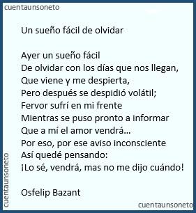 Poema de amor o desamor, poema sobre un sueño