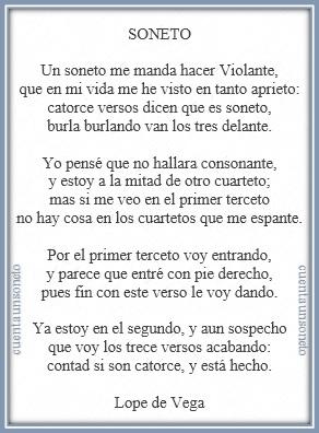 Es el famoso soneto de Lope de Vega, el soneto sonetil o soneto de repente, tomado en Niña de Plata