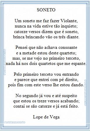 Soneto de Lope de Vega que fala sobre a própria arte de fazer sonetos
