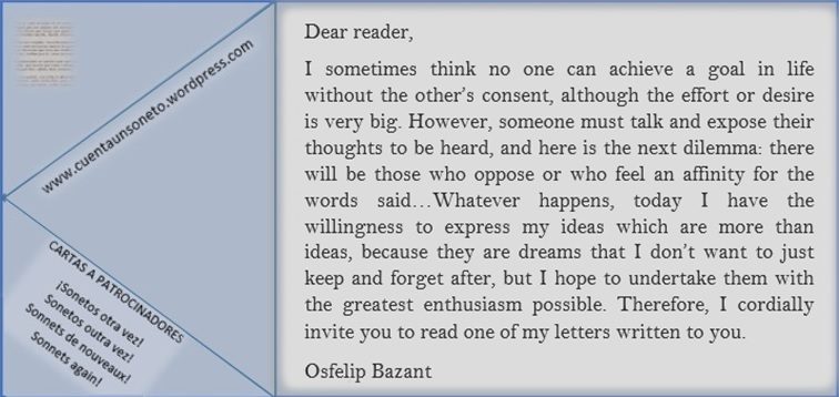 Letters from Osfelip. Make classic sonnets again.