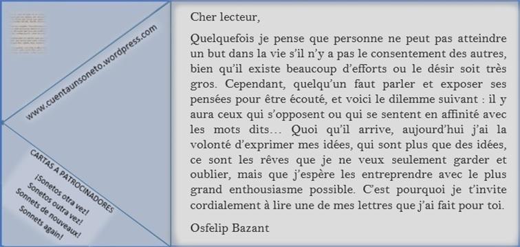 Lettres d'Osfelip. Faire de nouveaux des sonnets classiques.